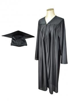 Black Shiny Gown and Cap